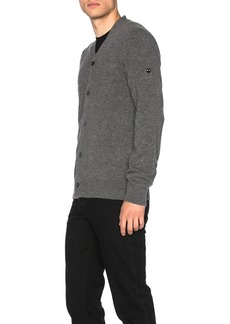 Comme des Garçons Comme Des Garcons PLAY Lambswool Cardigan with Small Black Emblem Sleeve