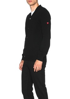 Comme des Garçons Comme Des Garcons PLAY Lambswool Cardigan with Small Red Emblem Sleeve