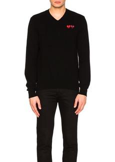 Comme des Garçons Comme Des Garcons PLAY V Neck Double Emblem Sweater