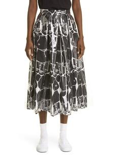 Comme des Garçons Bearbrick Print Twill Midi Skirt