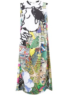 Comme Des Garçons cartoon cityscape printed dress - Multicolour