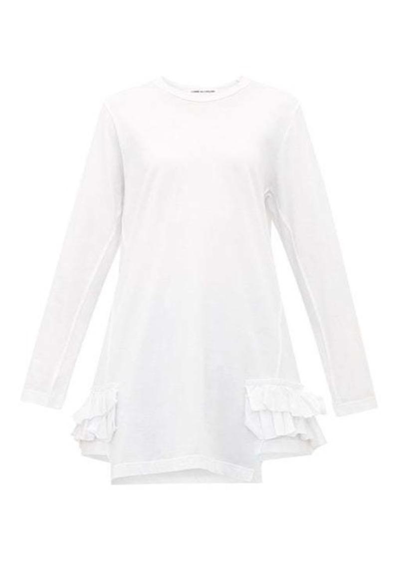Comme des Garçons Comme des Garçons Asymmetric ruffle-trimmed jersey T-shirt