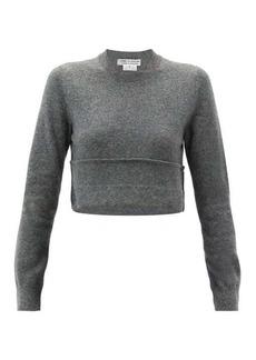Comme des Garçons Comme des Garçons Cropped turn-up hem wool sweater