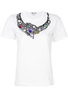 Comme Des Garçons Comme Des Garçons embellished neck T-shirt - White
