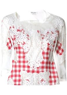 Comme Des Garçons Comme Des Garçons embroidered vichy jumper - White
