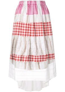 Comme Des Garçons Comme Des Garçons embroidered vichy skirt - White