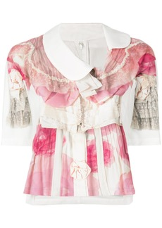 Comme Des Garçons Comme Des Garçons floral print ruffled blouse - Pink