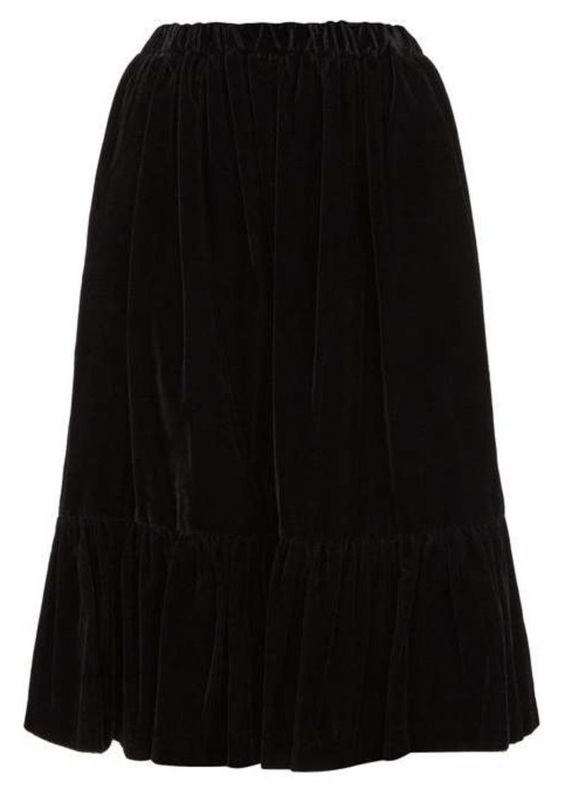 Comme des Garçons Comme des Garçons Gathered-hem velvet skirt