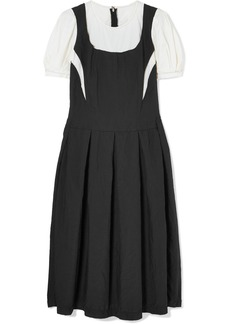 Comme des Garçons Layered satin-twill and cotton midi dress