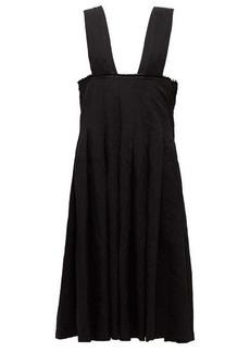 Comme des Garçons Comme des Garçons Raw-edge pleated pinafore dress