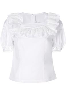 Comme Des Garçons Comme Des Garçons ruffle neck blouse - White