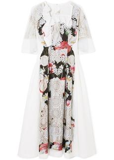 Comme des Garçons Ruffled Printed Voile Midi Dress