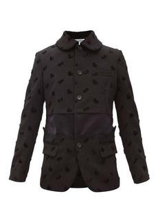 Comme des Garçons Comme des Garçons Velvet clover-appliqué twill jacket