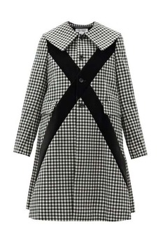 Comme des Garçons Comme des Garçons Velvet-panel single-breasted checked wool coat