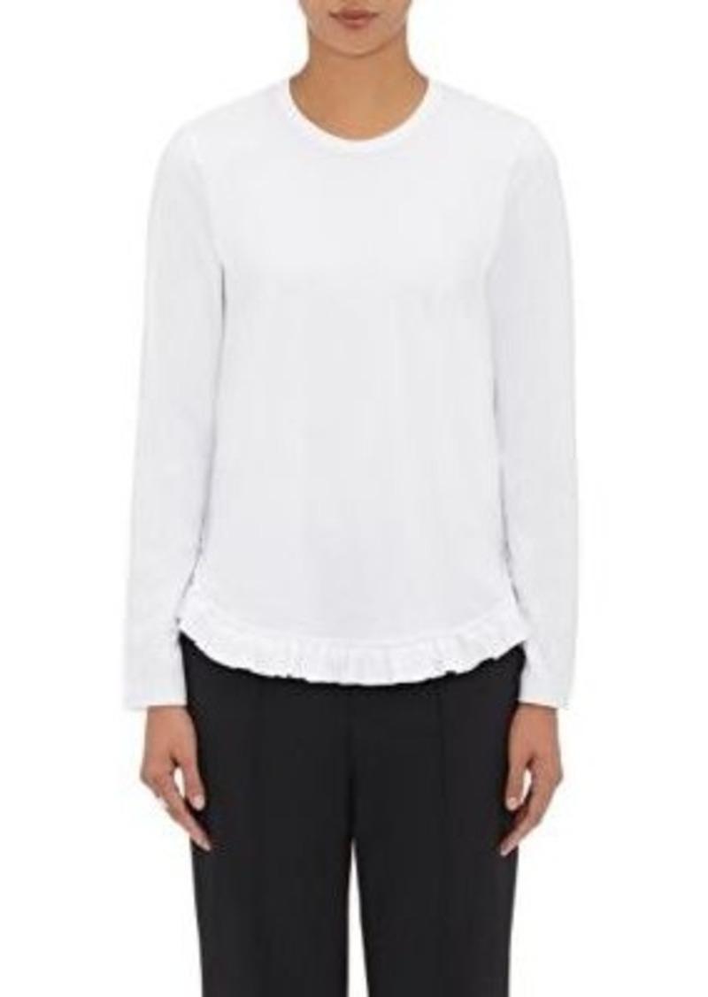 Comme des Garçons Comme des Garçons Women's Ruffle-Trimmed T-Shirt-WHITE Size XS