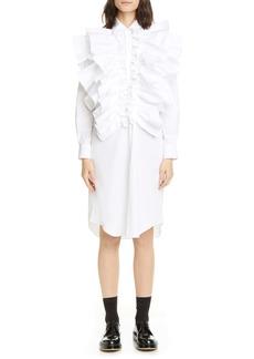 Comme des Garçons Double Ruffle Long Sleeve Midi Shirtdress