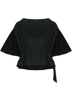 Comme Des Garçons elasticated waist slash neck top - Black