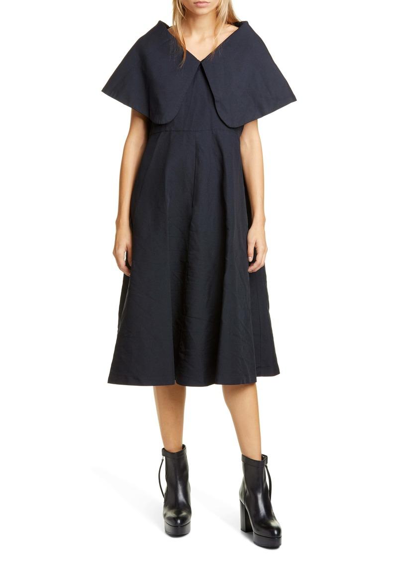 Comme des Garçons Exaggerated Pilgrim Collar Midi Dress