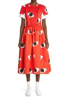 Comme des Garçons Eye Print Satin Pinafore Dress