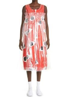Comme des Garçons Eye Print Vinyl Overlay Satin Dress