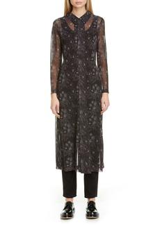 Comme des Garçons Floral Print Georgette Long Sleeve Midi Shirtdress