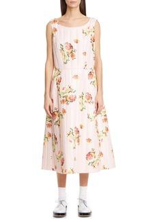 Comme des Garçons Floral Quilted Satin Midi Dress