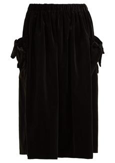 Comme Des Garçons Girl Bow-trim velvet midi skirt