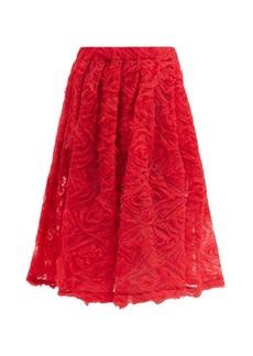 Comme des Garçons Girl Floral-appliqué tulle midi skirt