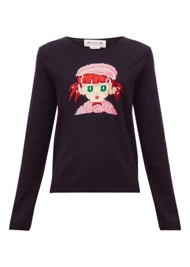 Comme des Garçons Girl Intarsia-girl wool-blend sweater