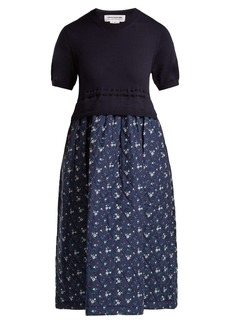 Comme Des Garçons Girl Knitted wool and floral cotton-blend dress