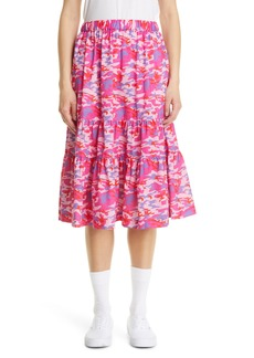 Comme des Garçons Girl Pink Camo Cotton Midi Skirt