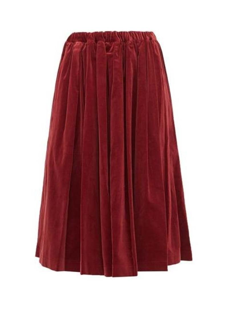 Comme des Garçons Girl Pleated velvet midi skirt