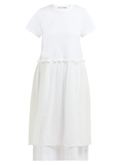 Comme des Garçons Girl Ruffled georgette-panelled cotton T-shirt dress