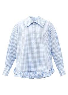 Comme des Garçons Girl Ruffled-hem gingham cotton shirt