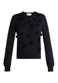 Comme Des Garçons Girl Wool pom-pom appliqué crew-neck sweatshirt