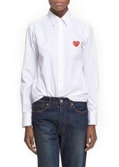 Comme des Garçons Heart Graphic Woven Cotton Shirt