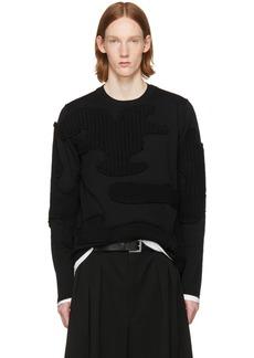 Comme des Garçons Homme Plus Black Cable Knit Appliqués Sweater