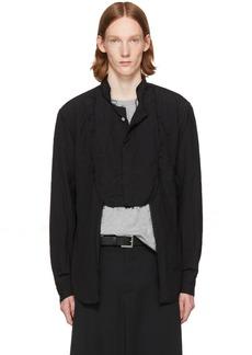 Comme des Garçons Homme Plus Black Frayed Cut-Out Bib Shirt