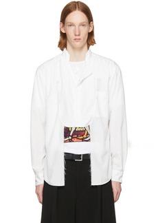 Comme des Garçons Homme Plus White Frayed Cut-Out Bib Shirt