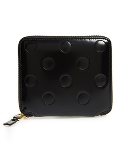 Comme des Garçons Line Dots Embossed Leather Zip Wallet