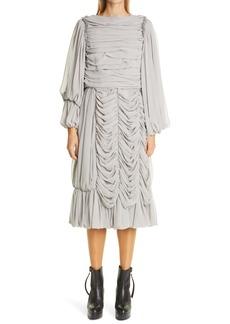 Comme des Garçons Long Sleeve Georgette Midi Dress