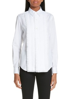 Comme des Garçons Long Sleeve Pleat Trim Shirt