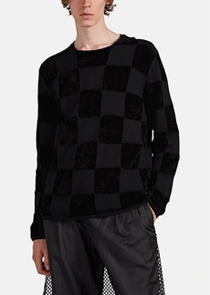 Comme des Garçons Men's Checked Mixed-Knit Wool-Blend Sweater