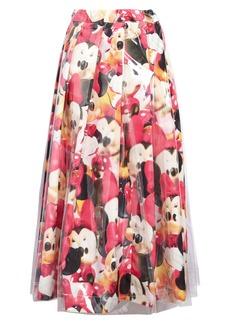 Comme des Garçons Minnie Mouse Print Canvas Midi Skirt