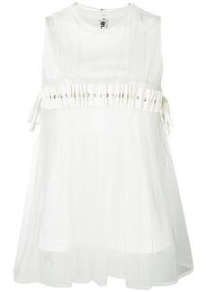 Comme Des Garçons Noir Kei Ninomiya pleated tulle overlay top - White