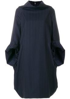 Comme Des Garçons pinstriped hoodie dress - Blue