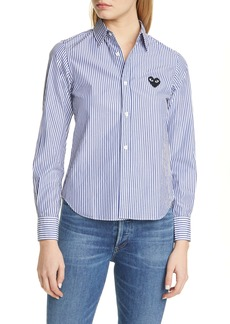 Comme des Garçons PLAY Black Heart Stripe Cotton Shirt