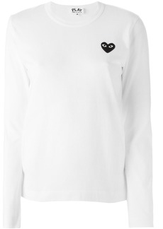 Comme Des Garçons Play embroidered heart longsleeved T-shirt - White
