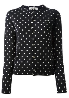 Comme Des Garçons Play embroidered heart polka dot cardigan - Blue