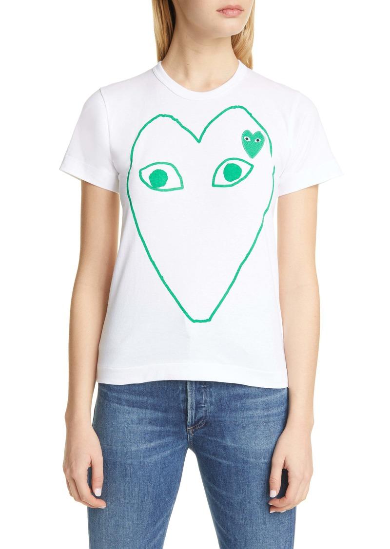 Comme des Garçons PLAY Green Heart Logo Tee